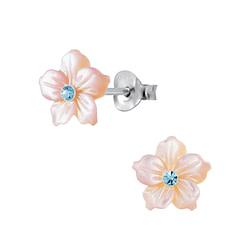 Wholesale Sterling Silver Shell Flower Ear Studs - JD2836