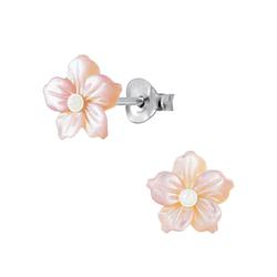 Wholesale Sterling Silver Shell Flower Ear Studs - JD2834