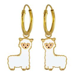 Wholesale Sterling Silver Alpaca Charm Ear Hoops - JD3018