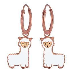 Wholesale Sterling Silver Alpaca Charm Ear Hoops - JD3019
