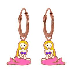 Wholesale Sterling Silver Mermaid Charm Ear Hoops - JD2807