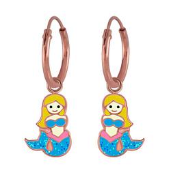 Wholesale Sterling Silver Mermaid Charm Ear Hoops - JD3013