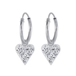 Wholesale Sterling Silver Crystal Heart Charm Ear Hoops - JD2994