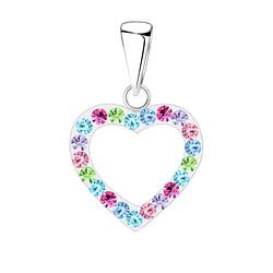 Wholesale Sterling Silver Heart Crystal Pendant - JD3074