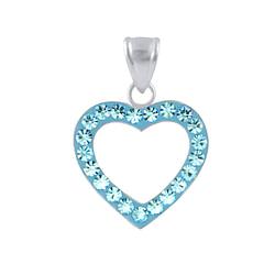 Wholesale Sterling Silver Heart Crystal Pendant - JD2874