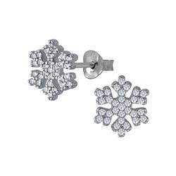 Wholesale Sterling Silver Snowflake Cubic Zirconia Ear Studs - JD3095