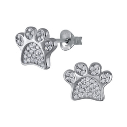 Wholesale Sterling Silver Paw Print Cubic Zirconia Ear Studs - JD3107