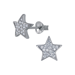 Wholesale Sterling Silver Star Cubic Zirconia Ear Studs - JD3271