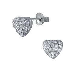 Wholesale Sterling Silver Heart Cubic Zirconia Ear Studs - JD3099