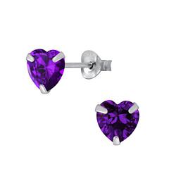 Wholesale 6mm Heart Cubic Zirconia Sterling Silver Ear Studs - JD1342