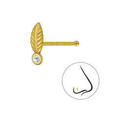 Wholesale Sterling Silver Leaf Crystal Nose Stud With Ball - JD3288