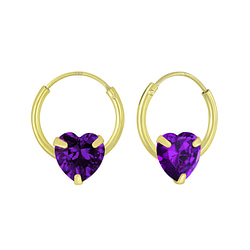 Wholesale Sterling Silver 6mm Heart Cubic Zirconia Ear Hoops - JD4672