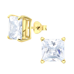Wholesale 8mm Square Cubic Zirconia Sterling Silver Ear Studs - JD3715