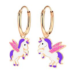 Wholesale Sterling Silver Unicorn Charm Ear Hoops - JD4192