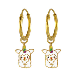 Wholesale Sterling Silver Alpaca Charm Ear Hoops - JD3856