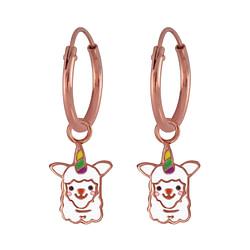 Wholesale Sterling Silver Alpaca Charm Ear Hoops - JD3857