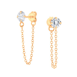 Wholesale 4mm Round Cubic Zirconia Sliver Ear Studs with Chain - JD4549