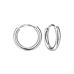 Wholesale 14mm Sterling Silver Thick Ear Hoops - JD4480