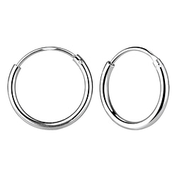 Wholesale 18mm Sterling Silver Thick Ear Hoops - JD4488