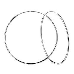 Wholesale 80mm Sterling Silver Thick Ear Hoops - JD4481