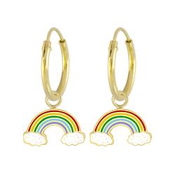 Wholesale Sterling Silver Rainbow Charm Ear Hoops - JD4260