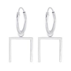 Wholesale Sterling Silver Geometric Hoop Earrings - JD4743