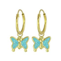 Wholesale Sterling Silver Butterfly Charm Ear Hoops - JD4614
