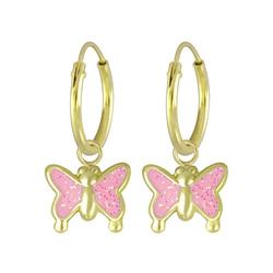 Wholesale Sterling Silver Butterfly Charm Ear Hoops - JD4613