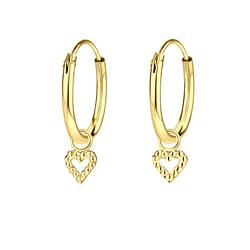 Wholesale Sterling Silver Heart Charm Ear Hoops - JD6516