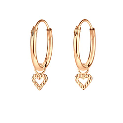 Wholesale Sterling Silver Heart Charm Ear Hoops - JD6517