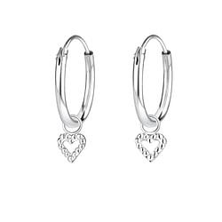 Wholesale Sterling Silver Heart Charm Ear Hoops - JD4345