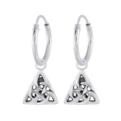 Wholesale Sterling Silver Celtic Triangle Charm Ear Hoops - JD4455