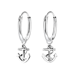 Wholesale Sterling Silver Anchor Charm Ear Hoops - JD4459