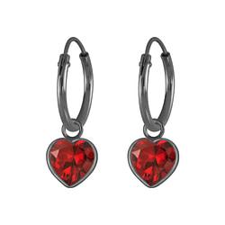 Wholesale 6mm Heart Cubic Zirconia Sterling Silver Charm Ear Hoops - JD4593