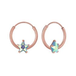 Wholesale 4mm Star Cubic Zirconia Sterling Silver Ear Hoops - JD5859