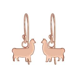 Wholesale Sterling Silver Llama Charm Ear Hoops - JD6139