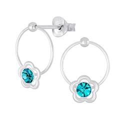 Wholesale Sterling Silver Flower Wire Crystal Ear Studs - JD5076