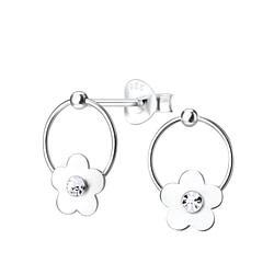 Wholesale Sterling Silver Crystal Flower Ear Studs - JD5087