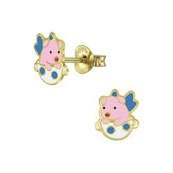 Wholesale Sterling Silver Flying Pig Ear Studs - JD5133