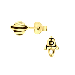 Wholesale Sterling Silver Rocket and Saturn Ear Studs - JD8745