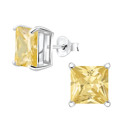 Wholesale 8mm Square Cubic Zirconia Sterling Silver Ear Studs - JD4744
