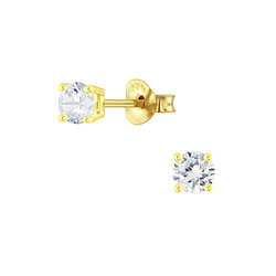 Wholesale 4mm Round Cubic Zirconia Sterling Silver Ear Studs - JD4751