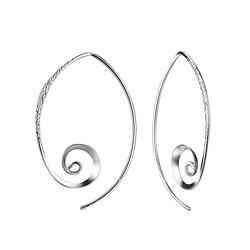 Wholesale Sterling Silver Spiral Ear Hoops - JD7580
