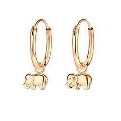 Wholesale Sterling Silver Elephant Charm Ear Hoops - JD4750