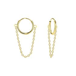 Wholesale Sterling Silver Chain Drop Ear Hoops - JD5012