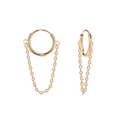 Wholesale Sterling Silver Chain Drop Ear Hoops - JD5013