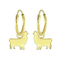 Wholesale Sterling Silver Llama Charm Ear Hoops - JD5758