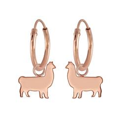 Wholesale Sterling Silver Llama Charm Ear Hoops - JD5743