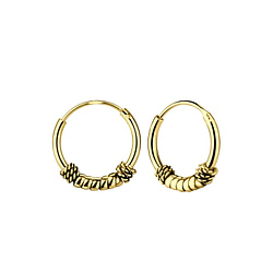 Wholesale 12mm Sterling Silver Bali Ear Hoops - JD5469