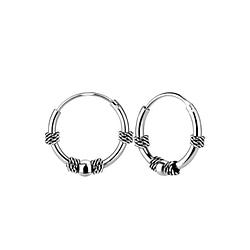 Wholesale 12mm Sterling Silver Bali Ear Hoops - JD5448